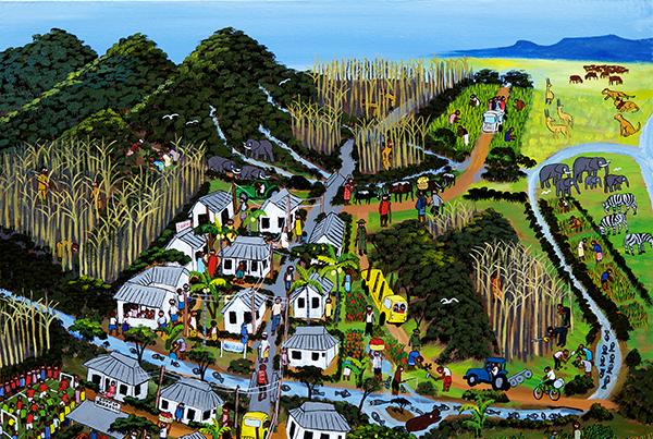 Framtidens by ser byborna med moderna hus, skog som börjar återhämta sig och floden full av fisk.