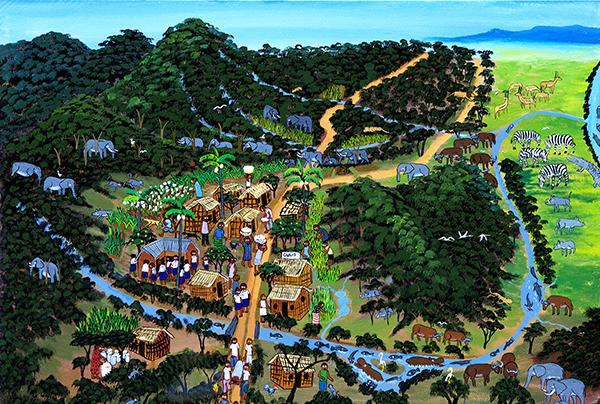 Så här såg byn ut innan ett företag började odla teak i stor skala. Skogen, floden och byn var välmående.