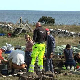 Utgrävningsplatsen vid Sandby borg.